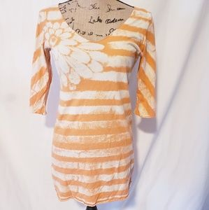 Lucky Brand   Floral Tie Dye Striped Top